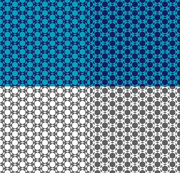 アラビア語のスタイルでシームレスなパターンをベクトルします。三角形、六角形の民族装飾。幾何学的なモノクロ、壁紙、テキスタイルプリント、背景、ファブリックの青い背景。色の反転。シンプルな形。
