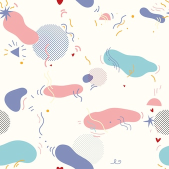Vector seamless pattern in memphis style with raster effect.