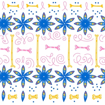 Vector seamless pattern for mexico traditional celebration - dia de los muertos - with blue flowers, bones, floral ornament isolated on white background. good for packaging design, print, decor, web.