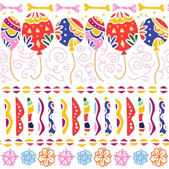 Vector seamless pattern for mexico traditional celebration - dia de los muertos - with colorful air balloons, abstract ornaments, bones, flowers isolated on white background. packaging design, prints.