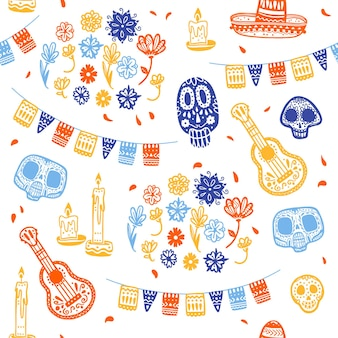 Vector seamless pattern for mexico traditional celebration - dia de los muertos - with skull, garland, guitar, floral ornament isolated on white background. good for packaging design, print, decor web