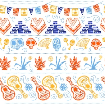 Vector seamless pattern for mexico traditional celebration - dia de los muertos - with skull, maya pyramid, cacti, guitar isolated on white background. good for packaging design, print, decor, web.