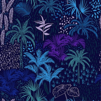 Vector seamless pattern of monotone blue forest
