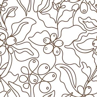 Вектор бесшовные модели природа кофе арт линия ветки на белом фоне