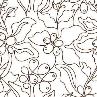 Vector seamless pattern. nature coffee art line branch on white background