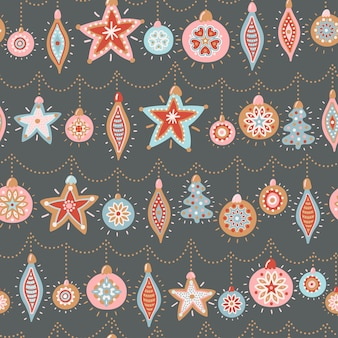 Vector seamless pattern for new year and christmas. cute hand-drawn illustrations with christmas tree toys.