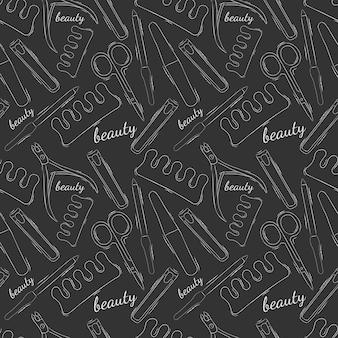 美容院のベクトルのシームレスなパターン。パターン。ストックイラスト。ネイルサロン。明るい輪郭。灰色の背景