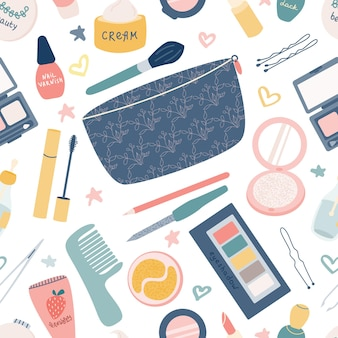 レディースアクセサリークリームアイシャドウマスカラ唇と化粧品バッグのベクトルシームレスパターン