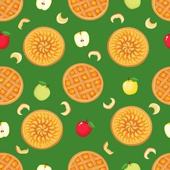 緑の背景に分離されたリンゴとアップルパイのシームレスなパターンをベクトルします。雑誌、本、テキスタイルに使用される秋の背景。