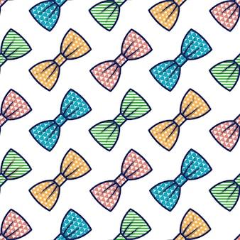 나비 넥타이의 벡터 원활한 패턴 흰색 배경에 고립