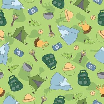 キャンプ要素のベクトルのシームレスなパターン-手描き落書き背景