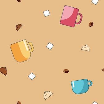 漫画カップコーヒーカプセル砂糖とコーヒー豆のベクトルのシームレスなパターン