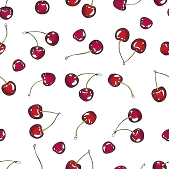 Vector seamless pattern of cherry berries