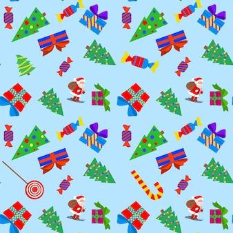 Бесшовный узор вектор рождественских предметов. зимний лес, сосны, конфеты и подарки печатаются на ткани, оберточной бумаге или обоях. встреча нового года. векторный рождественский шаблон.