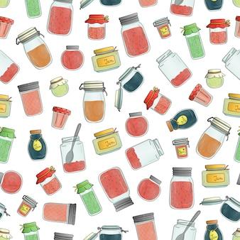 色のジャム瓶のシームレスなパターンベクトル。水彩画の効果を持つカラフルなビンテージパターン。