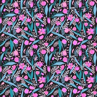 Вектор бесшовный образец милых стильных тюльпанов.