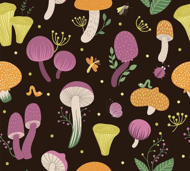 열매, 잎, 곤충과 편평한 재미있는 버섯의 벡터 완벽 한 패턴입니다. 가을 반복 공간. 검은 배경에 귀여운 곰팡이 그림