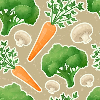 신선한 야채와 버섯의 벡터 매끄러운 패턴입니다. 당근, 브로콜리가 있는 건강 식품 스티커. 농장이나 정원에서 자연 유기농 식품.