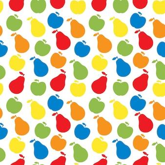 Бесшовный узор вектор фруктов - яблоко и груша