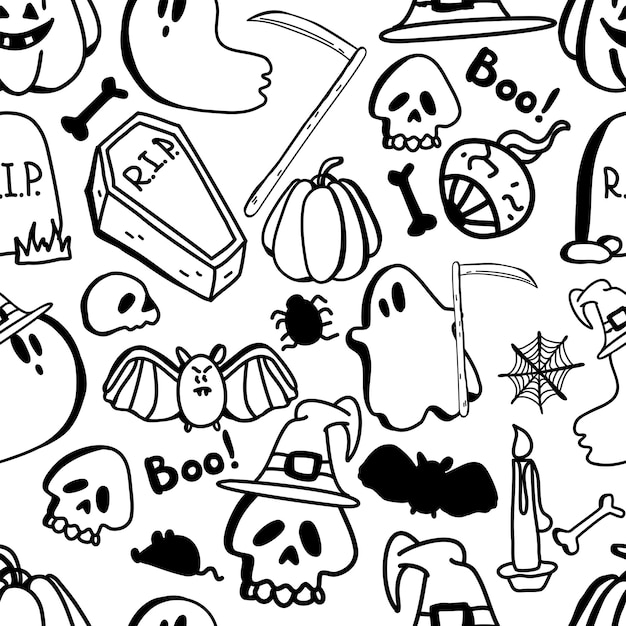 ハロウィーンの日についてのハロウィーンのクリップアート手描き落書きパターンのベクトルシームレスパターン