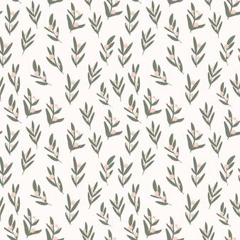 Бесшовный узор вектор простых листьев на бежевом фоне
