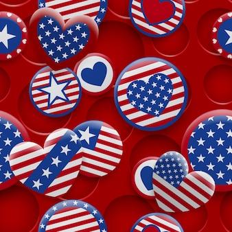 穴のある背景に赤と青の色でさまざまなusaシンボルのシームレスなパターンをベクトルします。アメリカ合衆国独立記念日