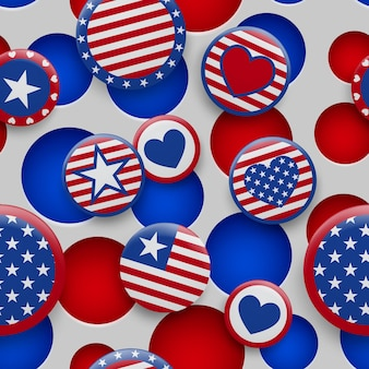 穴のある白い背景の上の赤と青の色でさまざまなusaシンボルのシームレスなパターンをベクトルします。アメリカ合衆国独立記念日