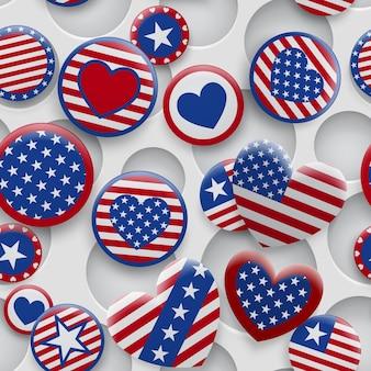 穴のある白い背景に赤と青の色でさまざまなusaシンボルのシームレスなパターンをベクトルします。アメリカ合衆国独立記念日