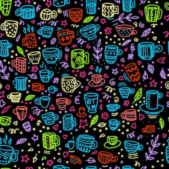 ヴィンテージマグのベクトルシームレスパターン。素朴なスカンジナビアスタイルで手描き。