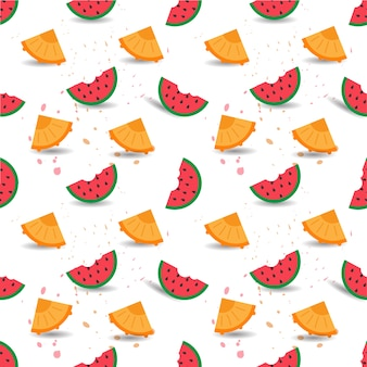 Vector Seamless Pattern of Watermelon and Pineapples