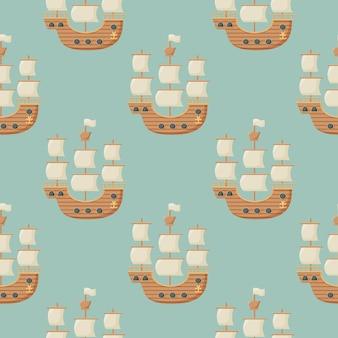 항해 선박과 바다 여행의 주제에 벡터 원활한 패턴
