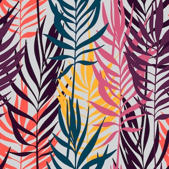 Vector seamless pattern. palm leaves minimalistic wallpaper.