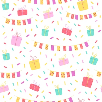 Vector seamless pattern for party or any celebration event. flat hand drawn style. colorful garland, gift box, confetti isolated on white background. good for cards, packaging gift paper, banner etc.