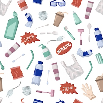 Vector seamless pattern - plastic trash or waste, bootles