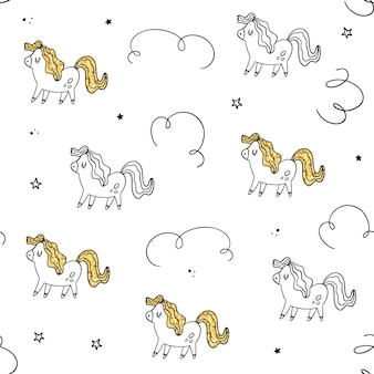 Vector seamless pattern. pony, gold texture