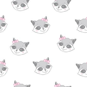 Vector seamless  pattern raccoon