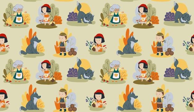 ベクトルのシームレスなパターン赤いフードおとぎ話の女の子のキャラクターオオカミと木こり