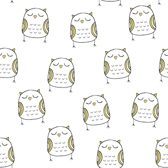 Vector seamless pattern in scandinavian style. nice owl.