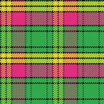シームレスパターンベクトルスコットランドのタータンチェック、黒、黄色、ピンク。緑