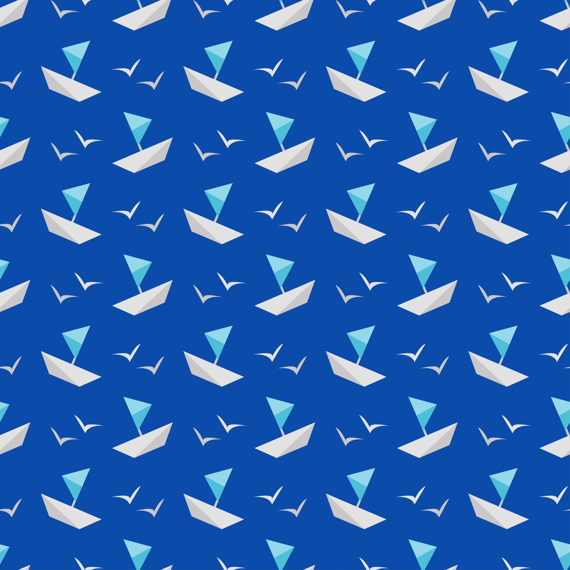 Vector seamless pattern sea and ship Vector flat.