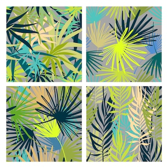 Vector seamless pattern set. palm leaves wallpapers.