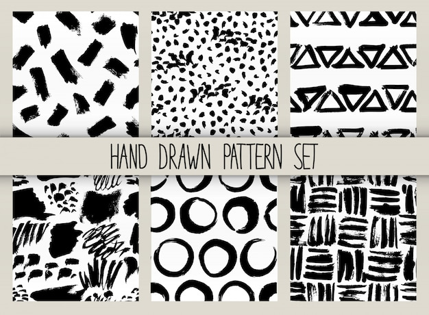 Vector seamless pattern set. repeatable texture with black ink drawn strokes collection