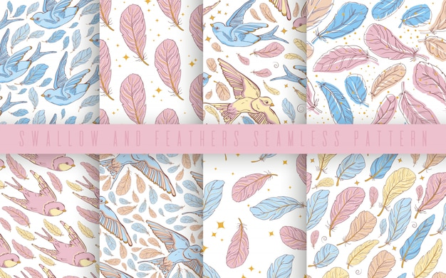 Vector seamless pattern set with swallows and feather.pastel color.