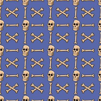 Vector seamless pattern of skull crossbone