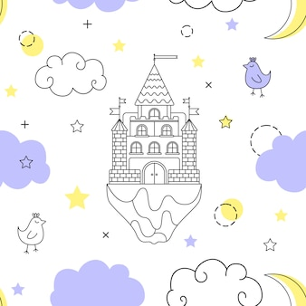 Vector seamless pattern in style of a fantasy.