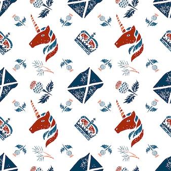 스코틀랜드의 벡터 원활한 패턴 기호