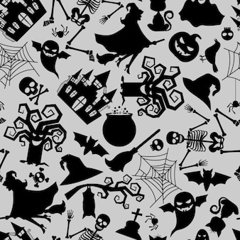 Vector seamless pattern texture with traditional halloween holiday icons