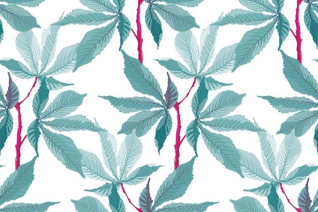 ベクトルのシームレスなパターン。熱帯の花の背景。白い背景で隔離の赤い茎のターコイズの葉。