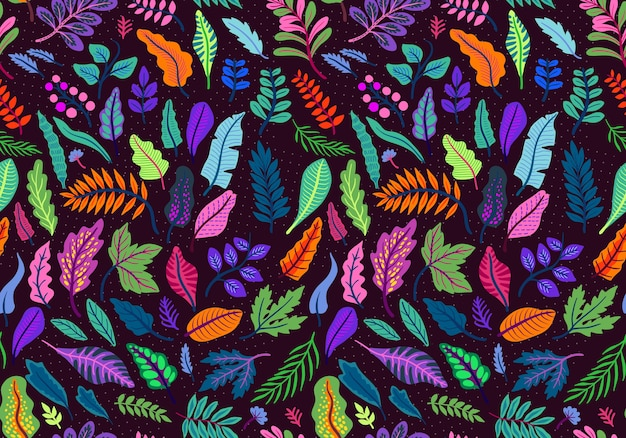 Vector seamless pattern of tropical leaves in folk style. exotic oriental plants. bright various leaves on a black background.