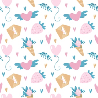 Vector seamless pattern for valentine's day in pink and turquoise colors with envelopes, strawberry, balloons and flowers.